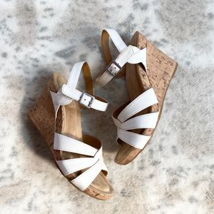 B.o.c. Apple Cork Wedge Sandal White Memory Foam